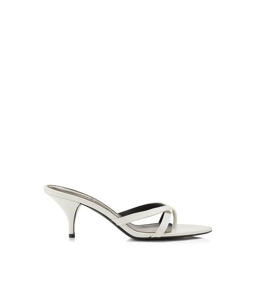 TOM FORD EMBOSSED LEATHER LOGO THONG SANDAL