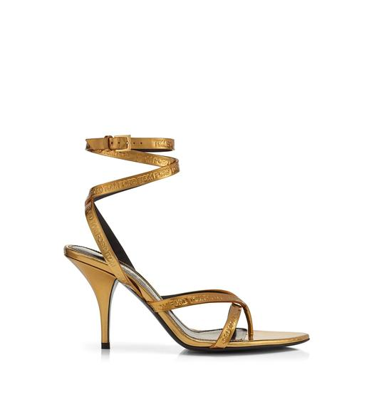 TOM FORD EMBOSSED MIRROR LEATHER LOGO ANKLE WRAP THONG SANDAL