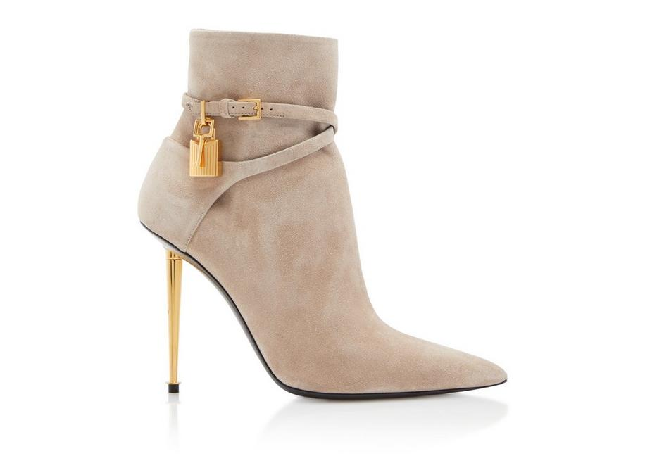 SUEDE LEATHER PADLOCK ANKLE BOOT A fullsize