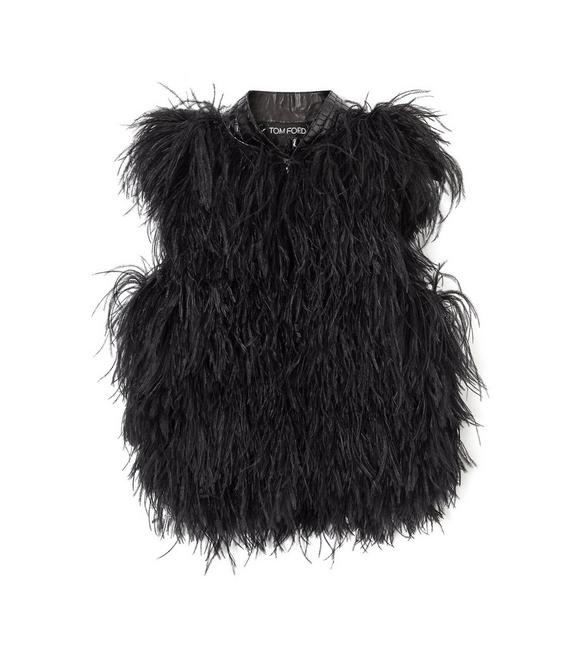 FEATHER VEST WITH EMBOSSED LEATHER A fullsize