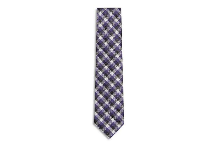 WOOL GINGHAM CHECK SLIM TIE A fullsize