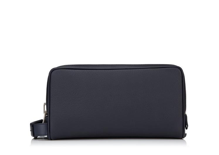 GRAINED LEATHER DOUBLE ZIP TOILETRY CASE A fullsize