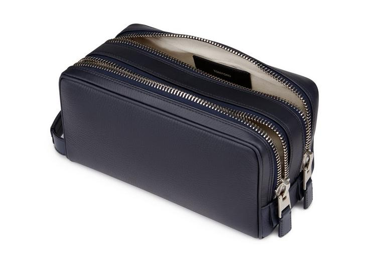 GRAINED LEATHER DOUBLE ZIP TOILETRY CASE D fullsize