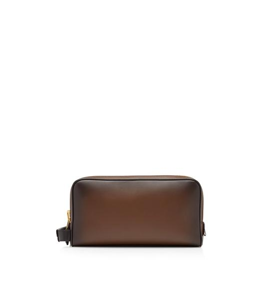 BURNISHED LEATHER DOUBLE ZIP TOILETRY BAG