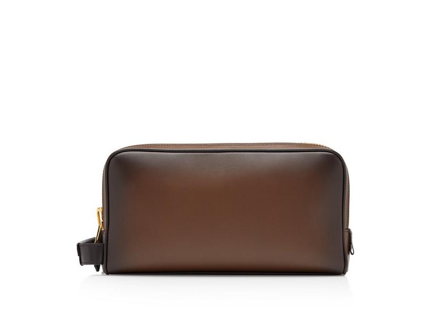 BURNISHED LEATHER DOUBLE ZIP TOILETRY BAG A fullsize
