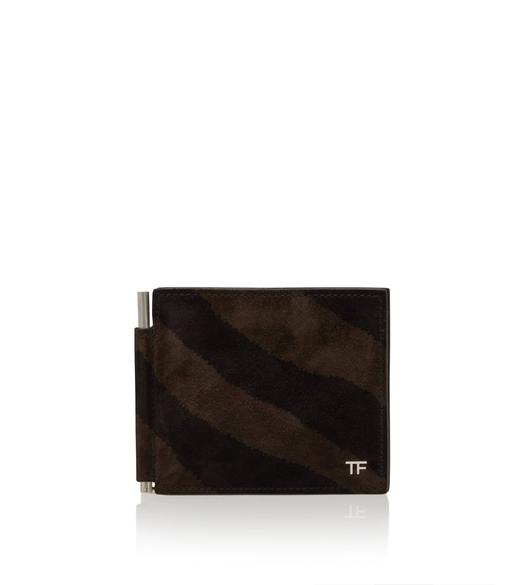 ZEBRA SUEDE T LINE MONEY CLIP WALLET