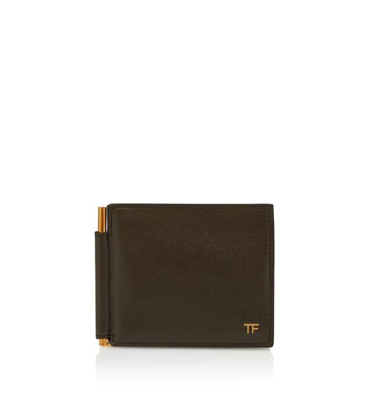 GRAIN LEATHER T LINE MONEY CLIP WALLET