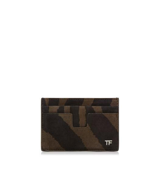 ZEBRA SUEDE T LINE CARD HOLDER