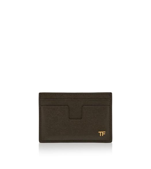 GRAIN LEATHER T LINE CARD HOLDER