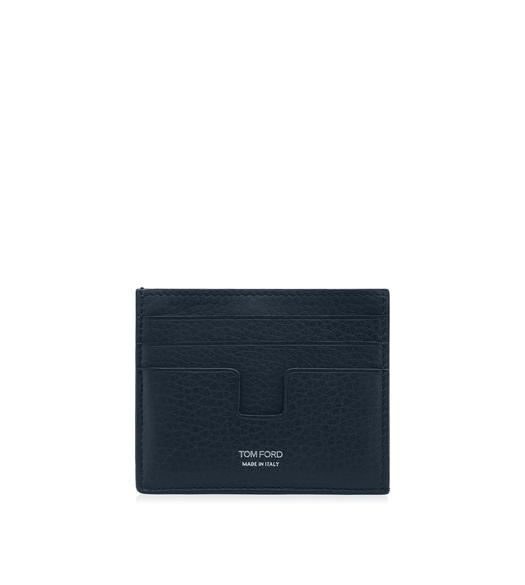 GRAINED LEATHER OPEN SIDE CARD HOLDER