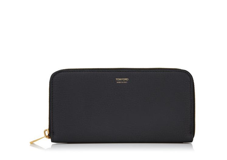 GRAINED LEATHER LARGE ZIPPED WALLET A fullsize
