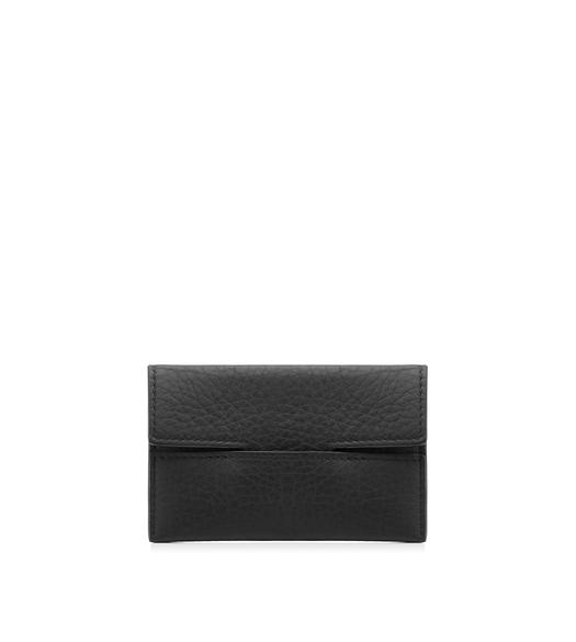 GRAINED LEATHER ENVELOPE CARD HOLDER