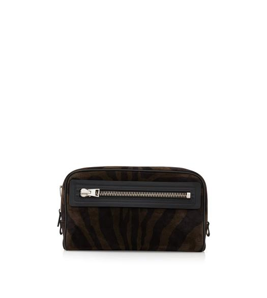 ZEBRA SUEDE SINGLE ZIP DOPP KIT