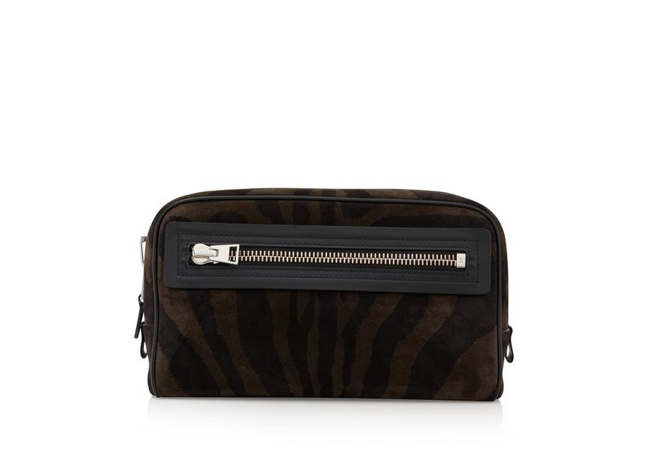ZEBRA SUEDE SINGLE ZIP DOPP KIT A fullsize