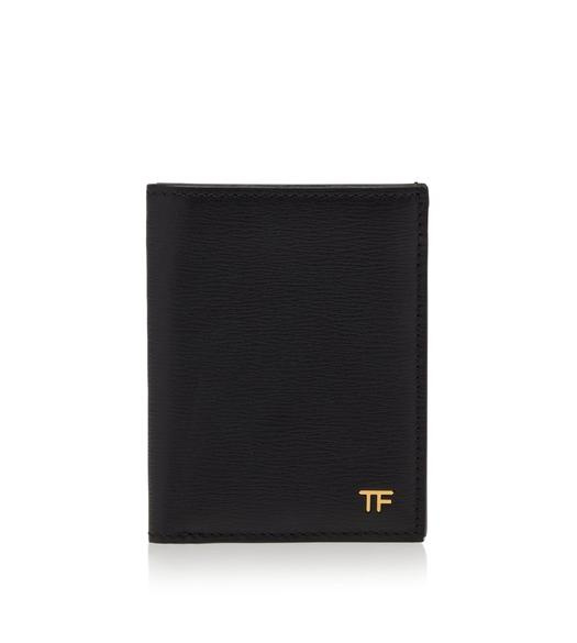 GRAIN LEATHER T LINE FOLD CARD HOLDER