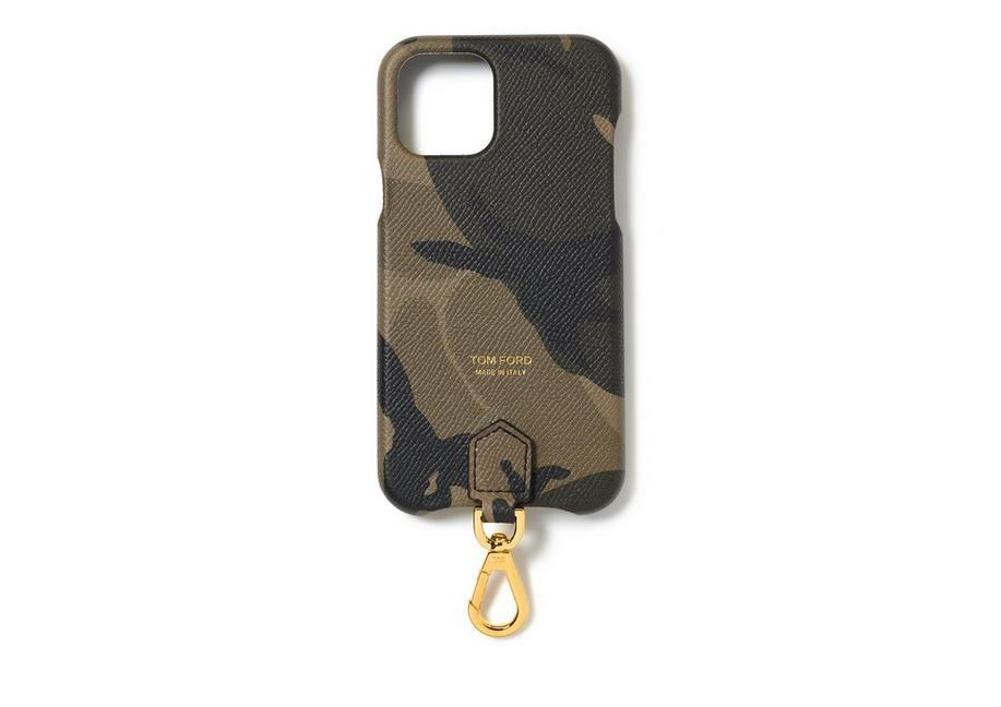 CAMO SMALL GRAIN LEATHER IPHONE CASE WITH NECK STRAP A fullsize