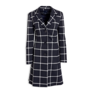 f85e162b593b62 Quick Shop · Daniel Hechter - Navy Grid Check Coat