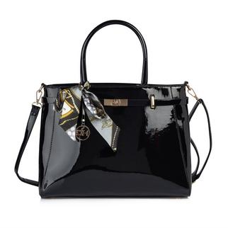 1ee49eb44902 Quick Shop. Daniel Hechter. Black Patent Shopper Bag