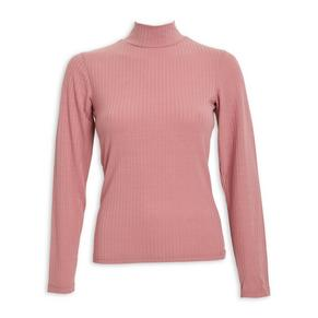 Pink Ribbed Turtle Neck
