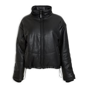 Black Pleather Puffer Jacket