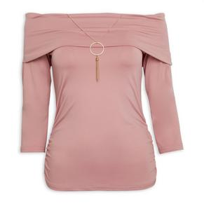 Pink Bardot With Necklace