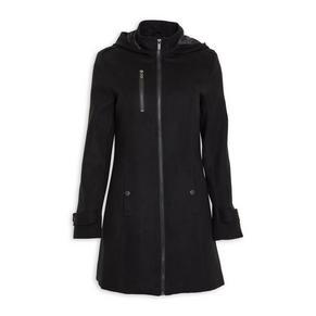Black Zip Melton Coat