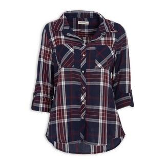 5d18e934c5cbd0 Quick Shop · Hey Betty - Blue & Rust Check Shirt