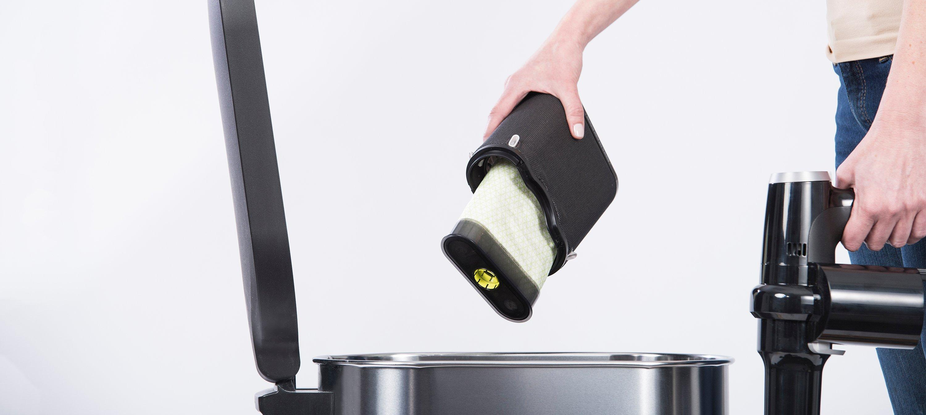Once full, the self-sealing POD can be disposed of with no cloud of dust.