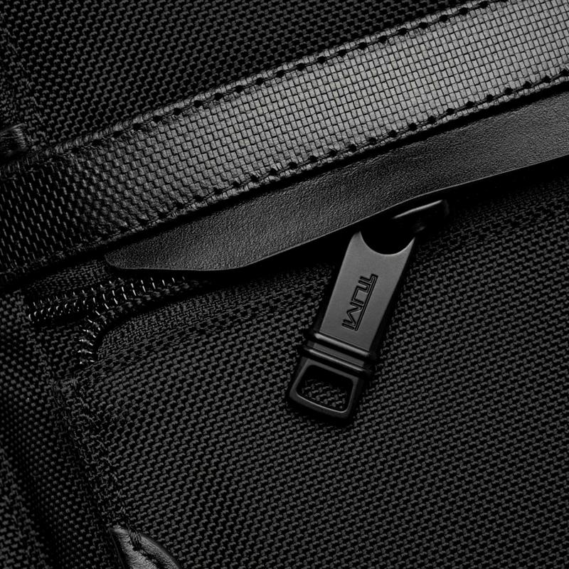 Tumi luggage backpack detail of the zipper.