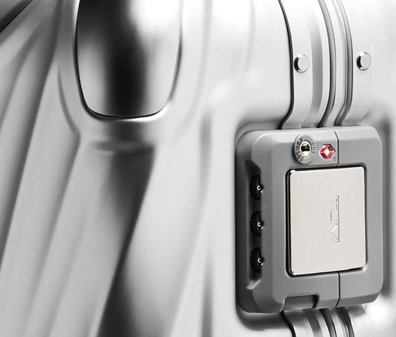 Tumi luggage suitcase lock clasp detail.