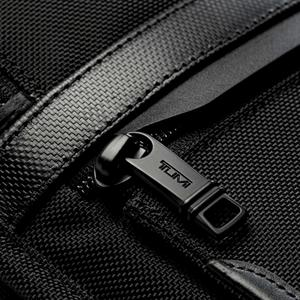 Detail of luggage backpack zipper.