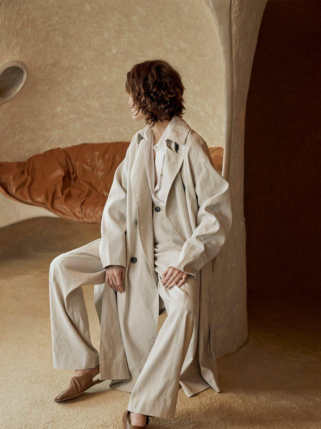 Linen Side Slit Trench Spring 2020 Collection for Women