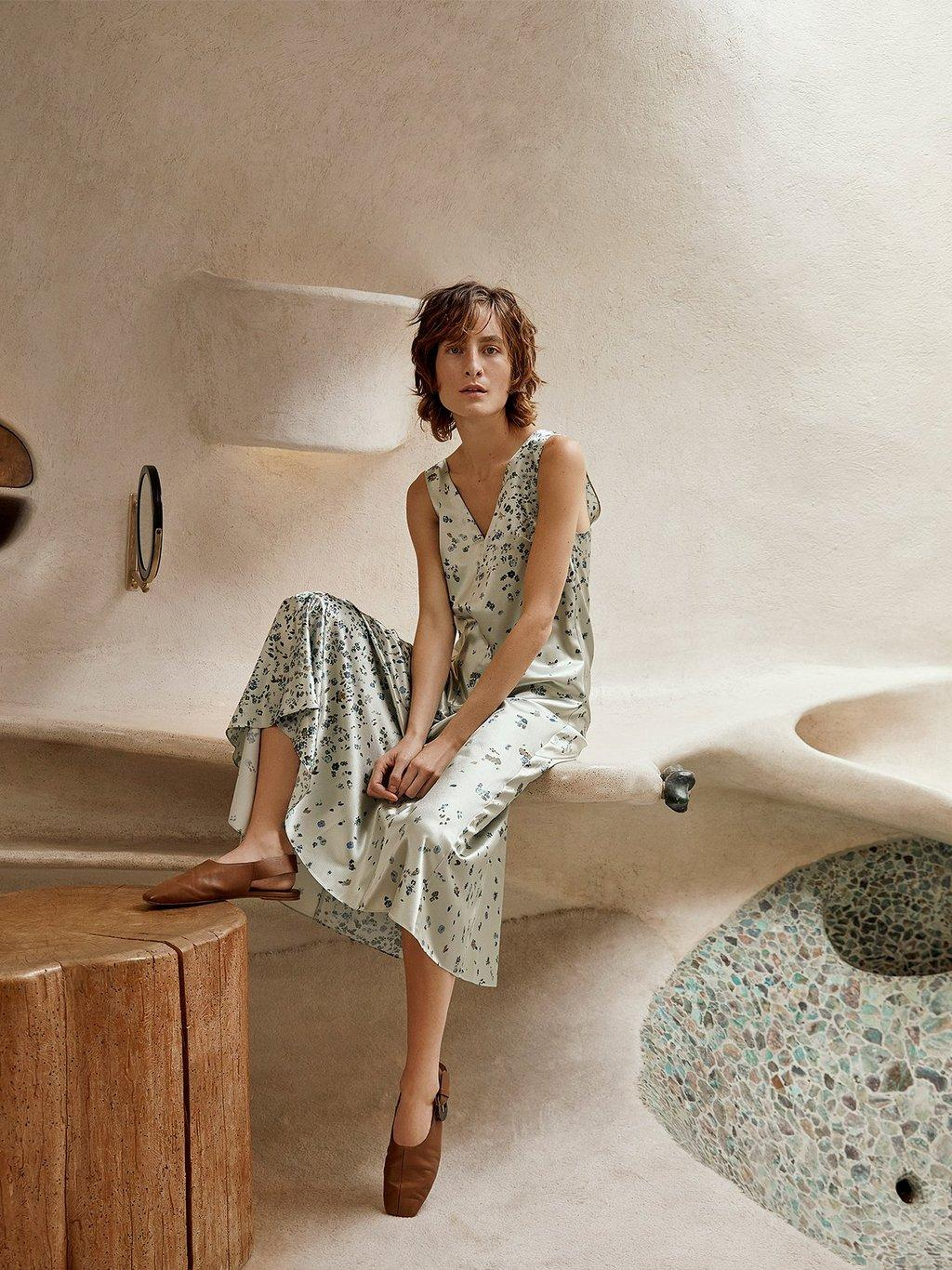 Scattered Floral Satin Dress Spring 2020 Collection for Women