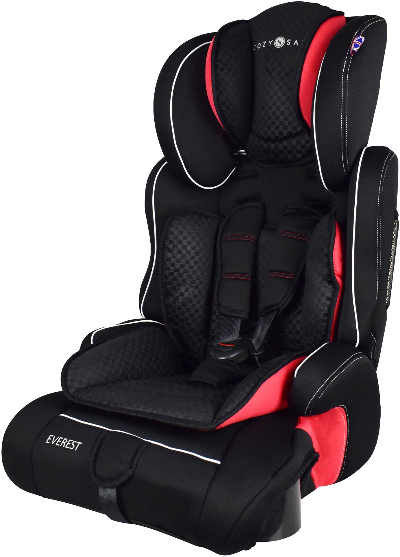 BNIB Everest Car Seat Group 1-2-3  Black//Red Cozy N Safe