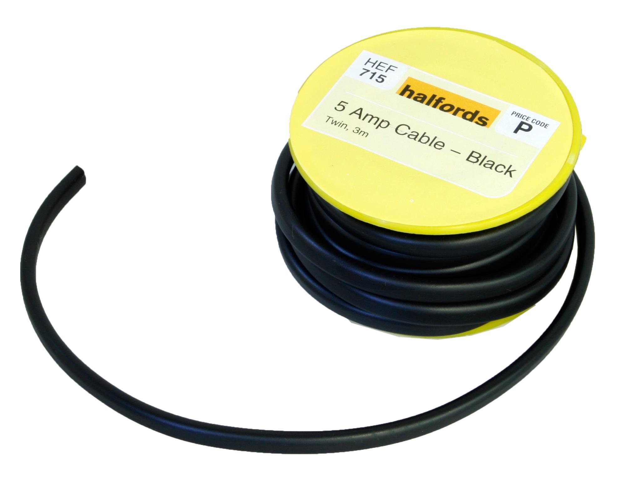 halfords 5 amp twin cable black hef rh halfords com