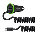 image of Belkin 2.4 Amp Micro USB & USB Car Charger