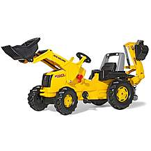 image of Robbie Toys New Holland Construction B110C Tractor With Frontloader & Rear Excavator Pedal Ride On