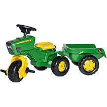 image of Robbie Toys John Deere Trio Tractor & Trailer Pedal Ride On