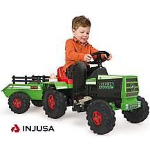image of Injusa Tractor & Trailer 6V Electric Ride On