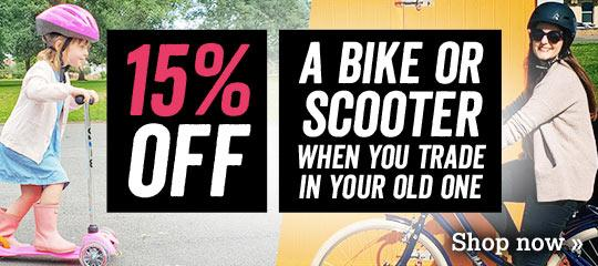 15% off all bikes and scooters when you trade in your old one