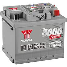 image of Yuasa HSB063 Silver 12V Car Battery 5 Year Guarantee
