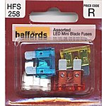image of Halfords Assorted LED Mini Blade Fuses 10/15/20/25/30 Amp (HFS258)