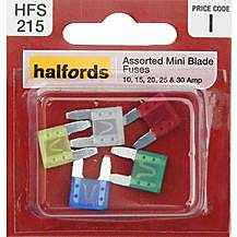 image of Halfords Assorted Mini Blade Fuses 10/15/20/25/30 Amp (HFS215)