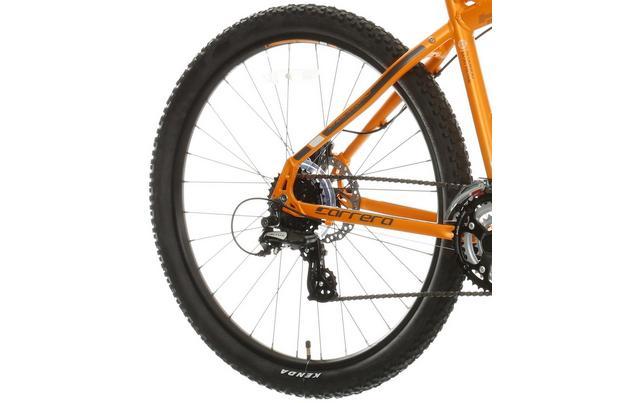 "6633a3e992e Carrera Vengeance Mens Mountain Bike - Orange - 16, 18"", 20&"