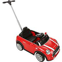 image of Mini Cooper Convertible Ride On Car with Parent Handle