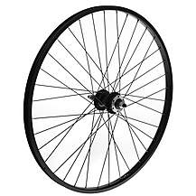 "image of Rear Mountain Bike Wheel - 26"" Black Rim"