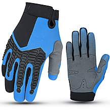 image of Halfords Essential BMX Full Finger Cycling Gloves - Blue - 3-6 years, 7-10 years