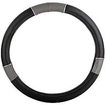 image of Halfords Black/Grey Steering Wheel Cover