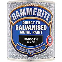image of Hammerite Direct to Galvanised Metal Paint Smooth Black 750ml