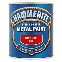 image of Hammerite Direct to Rust Metal Paint Smooth Red 750ml